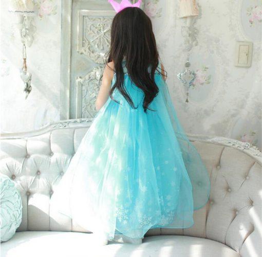 Синее платье Эльзы украшенное снежинками!
